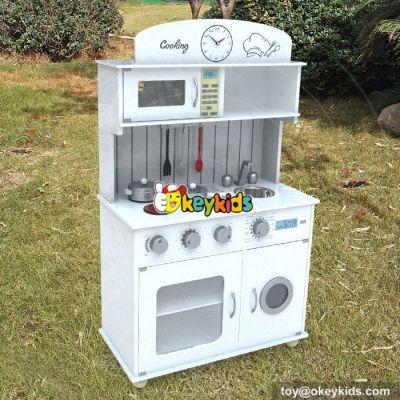 New design white pretend play children wooden toy kitchen W10C267