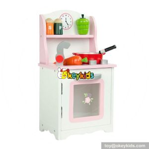 New design lovely pink cooking play set kids wooden kitchen W10C263