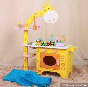 New design giraffe pretend play toy wooden kids toy kitchen for sale W10C234