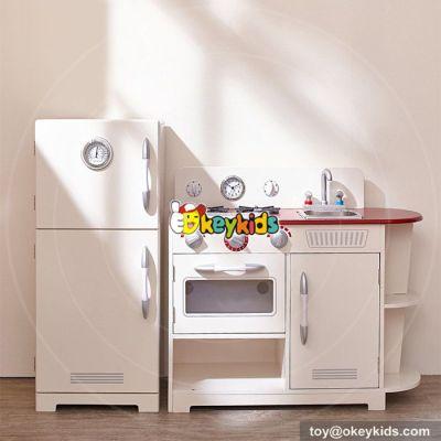 New design children cooking play toy white wooden kitchen set toys W10C256