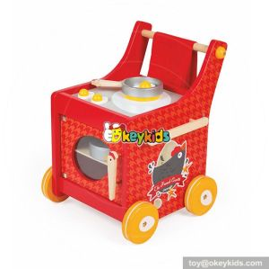 New design red push cart wooden baby kitchen set  W10C259