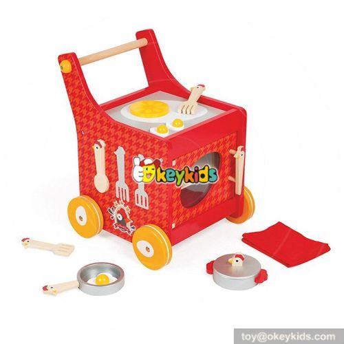 New design red push cart wooden baby kitchen set  W10C259