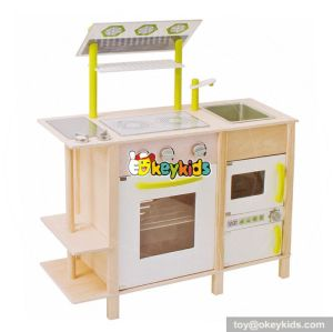 Cooking play toy big wooden toddler play kitchen with range hood W10C255