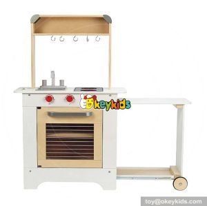 Cooking play toy white wooden kitchen playset for kids W10C260