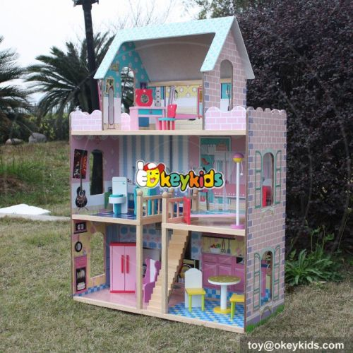 Wooden kids doll house with furniture W06A037