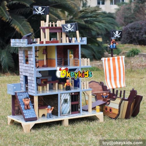 OkeykidsWooden pirate doll house with pirate ship wooden play house/play set with figurines W06A162