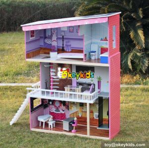 New design super model wooden dollhouse for girls W06A151