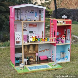 New design model size girls wooden uptown dollhouse with furniture W06A152