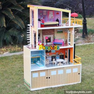 New design big size wooden beachfront mansion dollhouse for sale W06A153
