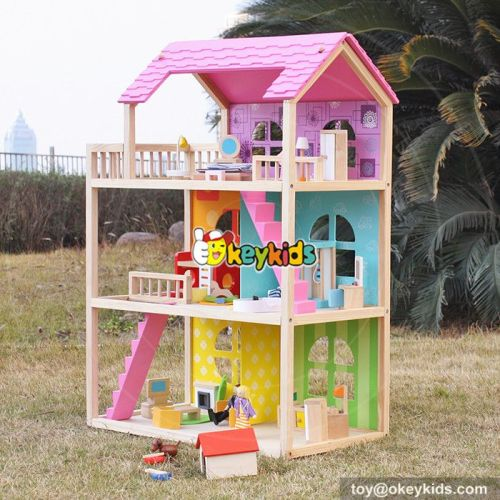 Okeykids Girls perfect pink wooden dollhouse kits with furniture W06A170