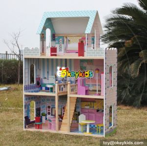 New design big girls luxurious wooden doll houses for sale W06A161