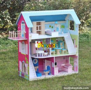 Hot sale girls perfect wooden american doll house with furniture W06A169