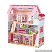 Hot sale girls perfect kids wooden doll house play W06A100