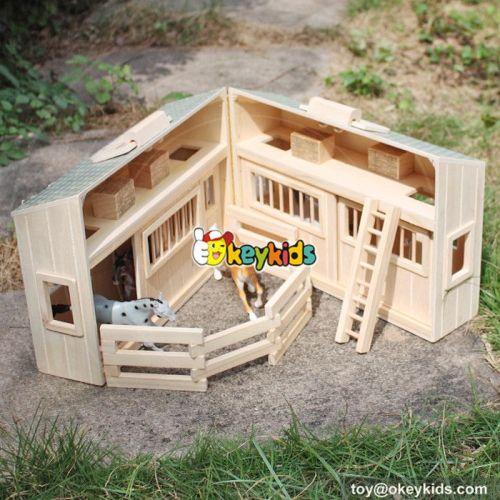 New design fancy children natural wooden horse farm toys W06A166