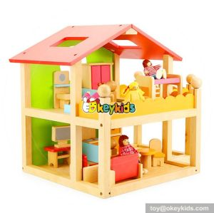 Top fashion girls perfect sunshine wooden dollhouse kits W06A120
