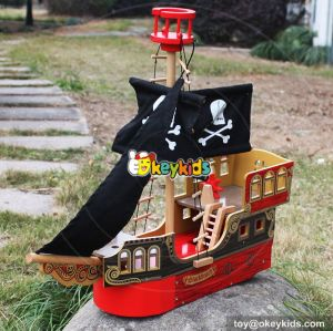 New hot products boys and girls imagine shark bite wooden toy pirate ship W03B060