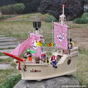 New hot products pink girls imagine shark bite wooden pirate ship toy for sale W03B061