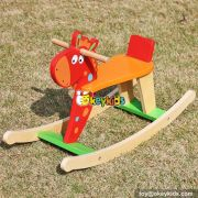 New design red funny wooden baby rocking horse W16D109