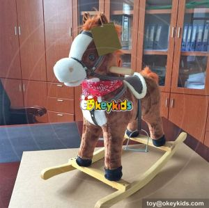 Top fashion toddlers comfortable wooden rocking horse with sound W16D089