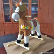 Top fashion toddlers interactive wooden rocking horse with sound W16D090