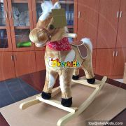 Wholesale cheap toddlers interactive wooden plush rocker toy W16D091
