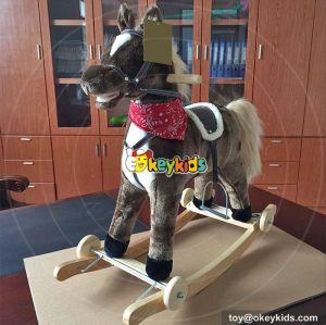 Wholesale cheap kids interactive wooden plush rocking animals W16D092