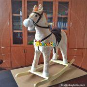 Wholesale cheap kids interactive wooden plush rocking animal W16D093