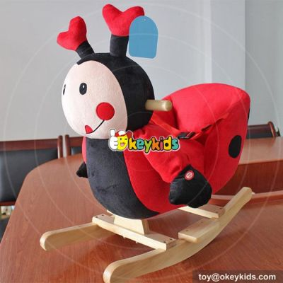 Manufacturer of funny wooden red rocking animal for baby W16D099