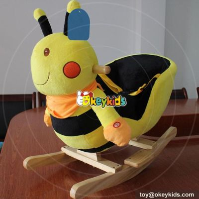 Manufacturer of cartoon bee wooden animal rocking horse for baby W16D100