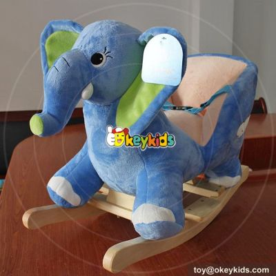Manufacturer of cartoon wooden elephant rocking horse for baby W16D101