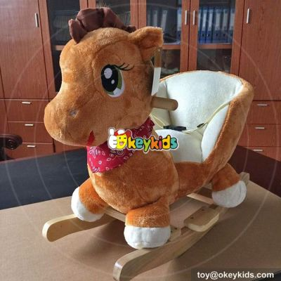 Manufacturer of funny toy wooden wheel plush toddler rocking horse W16D102