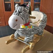 Manufacturer of cartoon plush zebra rocking horses for toddlers W16D103