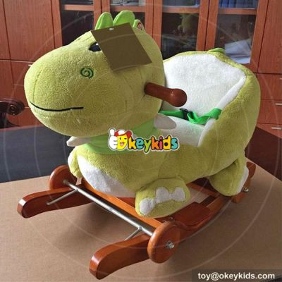 Manufacturer of cartoon plush hippo wooden baby rocking animal W16D105