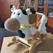 Manufacturer of cartoon wooden baby rocking horse with seat W16D106