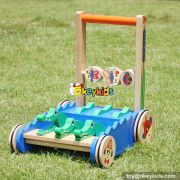 New design cartoon crocodile toy wooden push walkers for babies W16E059