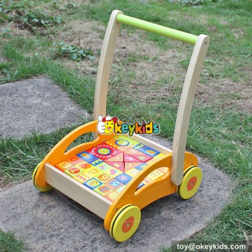 Best design push along wooden baby walking toys with building blocks W16E060