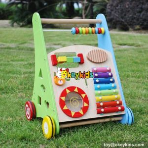 Best design multi-function push along toys wooden baby activity center W08J001