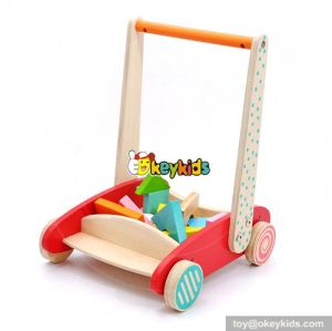 New design push blocks car wooden baby play walker W16E073