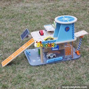 New design children parking toy small wooden toy garage W04B048