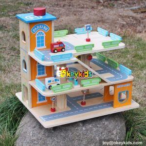 New design boys parking toy wooden matchbox car garage W04B049