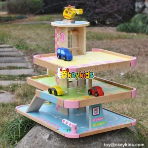 New fashion lovely pink gilrs wooden toy garage for cars W04B050