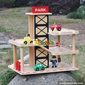 New fashion boys funny parking toys wooden toy garage playset W04B051