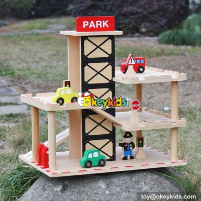 New fashion boys funny parking toys wooden toy garage playset W04B051