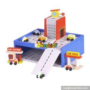 New design funny wooden children toy garage set W04B040