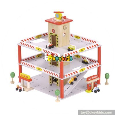 Best design funny parking toys wooden toy garage for toddlers W04B042