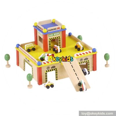 Best design educational parking toys wooden funny toy garage for toddlers W04B043