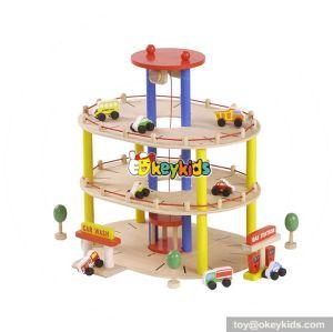 Best design funny wooden toy car parking garage for kids W04B045