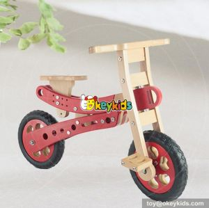 Best design red preschool wooden balance bike for toddlers W16C150