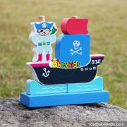 New design pirate boat shape kids wooden educational toys W13D134