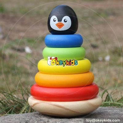 New design penguin 6 Piece ring children wooden rainbow stacker toy W13D135